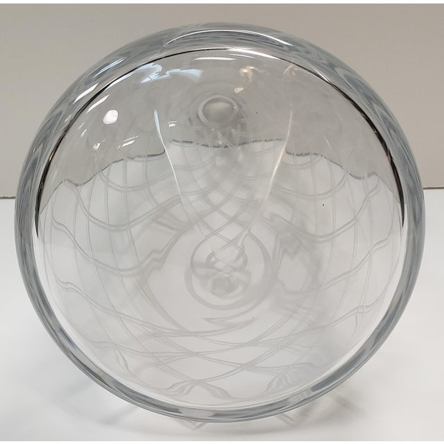 Transparent Mid 20th Century Italian Cut Glass Diamond Pattern Leaning Vase For Sale - Image 8 of 9