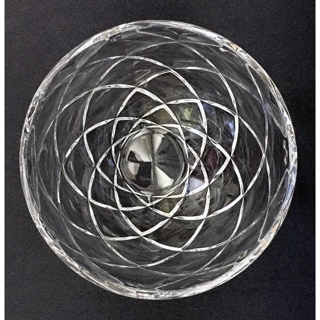 Deep cut diamond pattern round clear crystal bowl by Tiffany & Co.