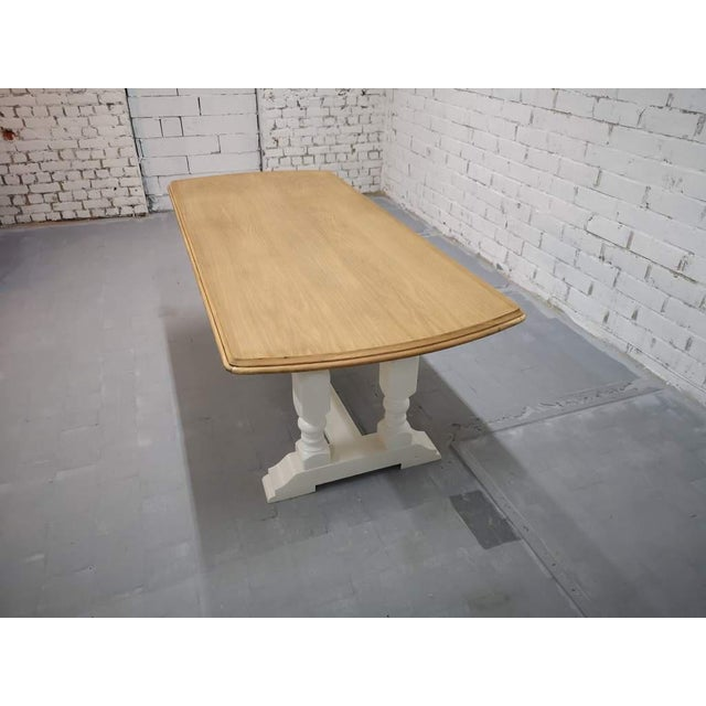 Vintage Restored Like New French Farmhouse Trestle Dining Table Boho Chic For Sale - Image 4 of 11