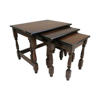 Vintage English Wood Nesting Tables - Set of 3 For Sale