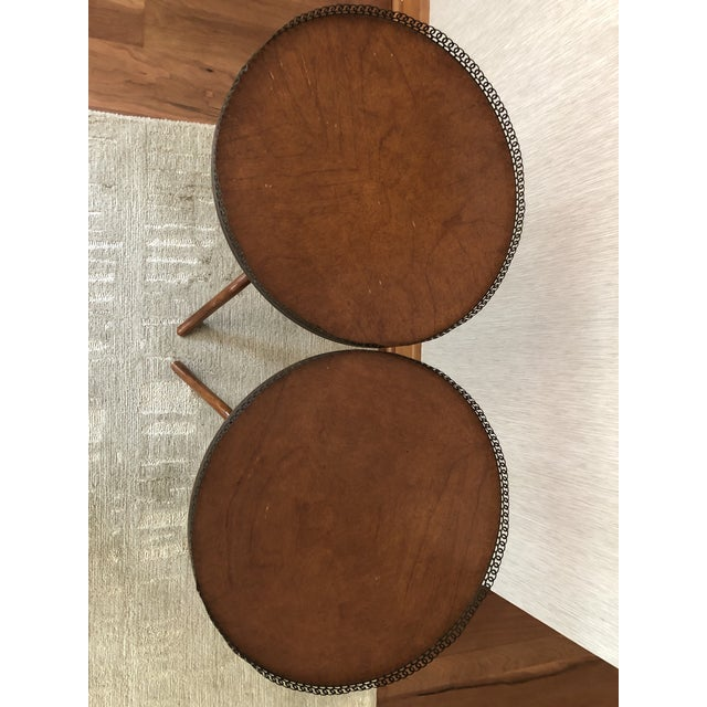 Metal Traditional Wood Drink/Gueridon Tables - a Pair For Sale - Image 7 of 8