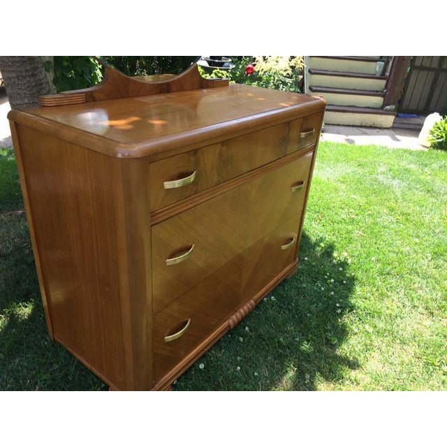 1930s Kroehler Waterfall Dresser & Mirror - Image 8 of 9