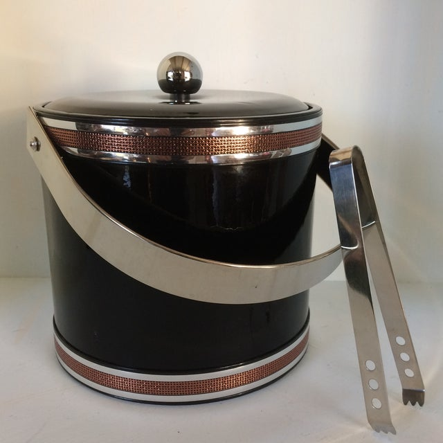 Georges Briard Black Vinyl & Chrome With Copper Tone Bands Ice Bucket and Tongs For Sale - Image 13 of 13