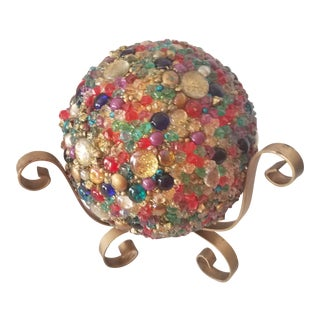 Hollywood Regency Large Gemstone Studded Sphere With Brass Stand For Sale