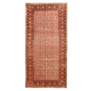 Samarkand Style Inspired Red and Blue Wool Rug - 6′ × 12′ For Sale