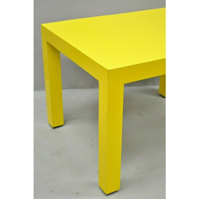 Contemporary 1970s Contemporary Thayer Coggin Milo Baughman Yellow Parsons End Table For Sale - Image 3 of 11