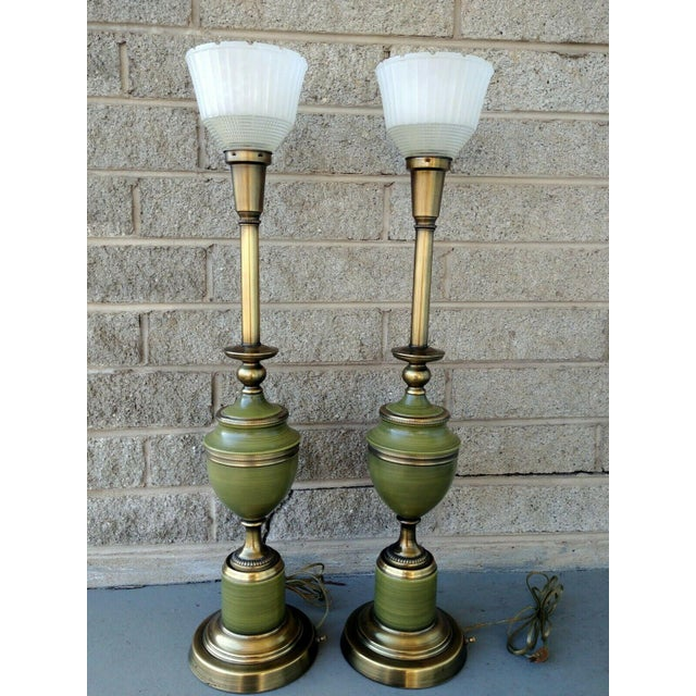 Green Vintage Rembrandt Brass & Green Enamel Hollywood Regency Table Lamps With Diffuser - a Pair For Sale - Image 8 of 13