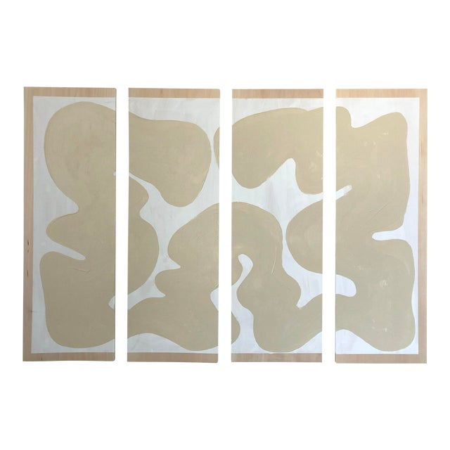 Abstract Beige and White Quadriptych Painting - 4 Pieces For Sale