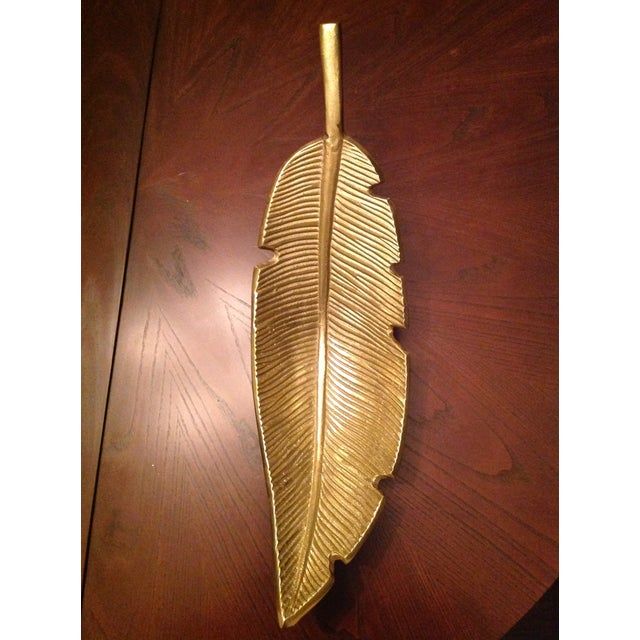 2010s Banana Leaf Gold Decorative Tray For Sale - Image 5 of 13