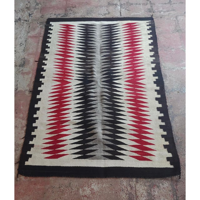 Native American Native American Vintage Navajo Rug W/Red Brown & Beige Design For Sale - Image 3 of 9
