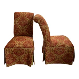 Ethan Allen Olivia Skirted Side Chairs - a Pair For Sale