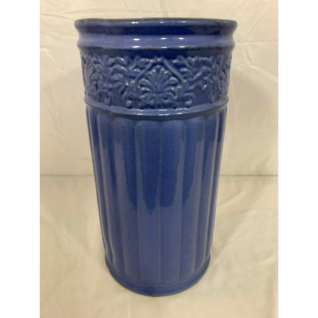Possibly Weller, this periwinkle blue umbrella stand is as beautiful as it is colorful. This will brighten up those dreary...