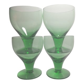 1960s Mid-Century Modern Green Coupe Cocktail Glasses - Set of 4 For Sale