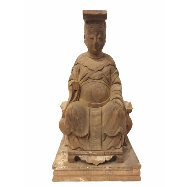 1940s Raw Carved Wood Taiwanese Deity Statue For Sale - Image 13 of 13