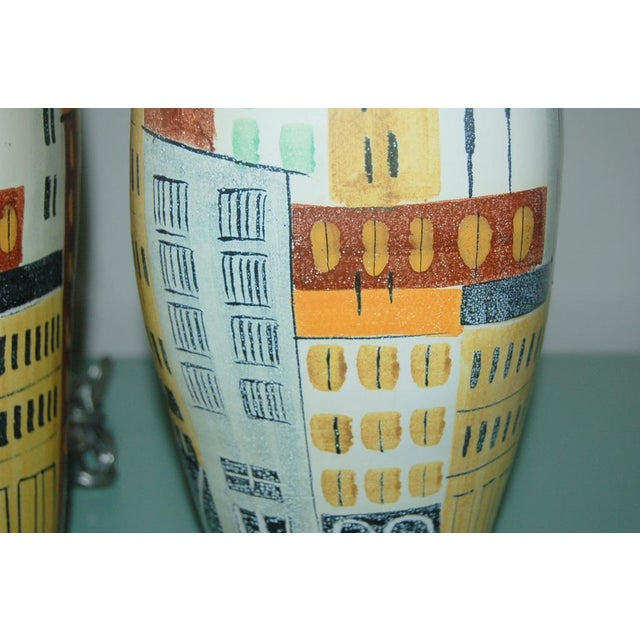 Brass Vintage Bitossi Italian Ceramic Cityscape Table Lamps For Sale - Image 7 of 10