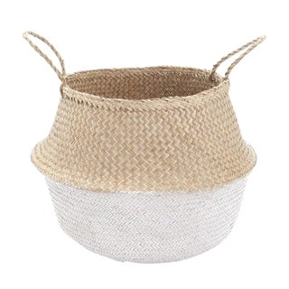 Medium White Dipped Seagrass Belly Basket For Sale
