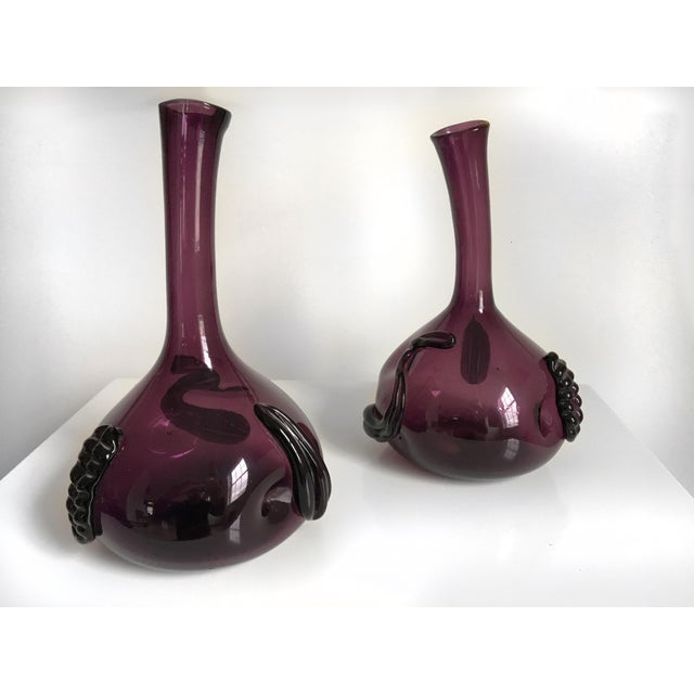 Glass Pair of Sculptural Amethyst Violet Colored Glass Vases by Empoli For Sale - Image 7 of 8