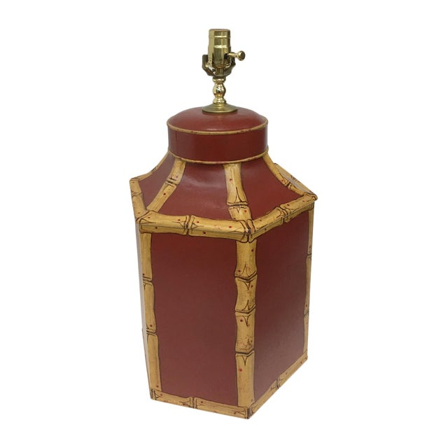 English Export Tole Tea caddy lamp with faux bamboo. Painted Chinoiserie Style.