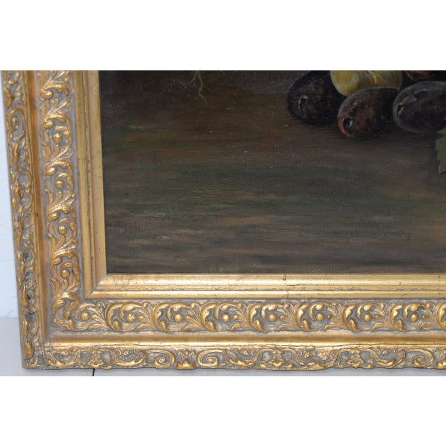 """Early 20th Century 19th Century """"Fruit Table"""" Still Life Oil Painting For Sale - Image 5 of 9"""