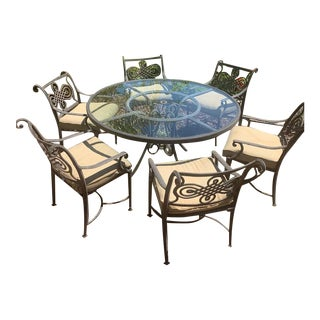 Cast Classic Patio Furniture-Set of 7 For Sale
