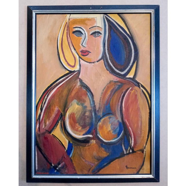 Mid 20th Century Cubist Portrait of a Woman Oil Painting, Framed For Sale - Image 9 of 9
