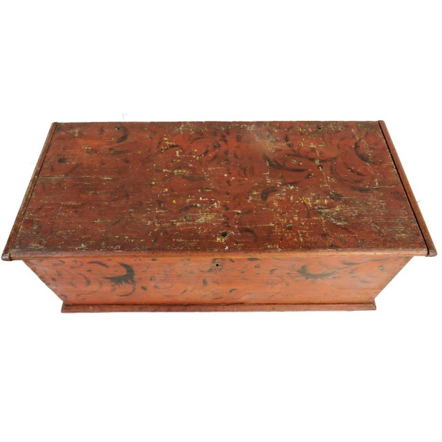 Early 19th Century Antique Primitive Red Paint Trunk For Sale - Image 9 of 13