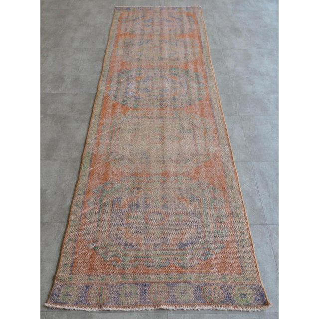 """Dimension: 34.8"""" x 141.7"""" or 2 ft 11 in X 11 ft 10 in Excluding fringe Material : wool on cotton. Condition: Used rug is..."""