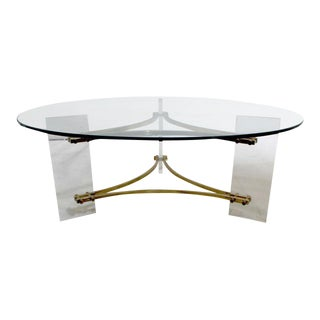 Charles Hollis Jones Mid-Century Brushed Brass & Acrylic Coffee Table