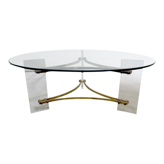 Charles Hollis Jones Mid-Century Brushed Brass & Acrylic Coffee Table For Sale