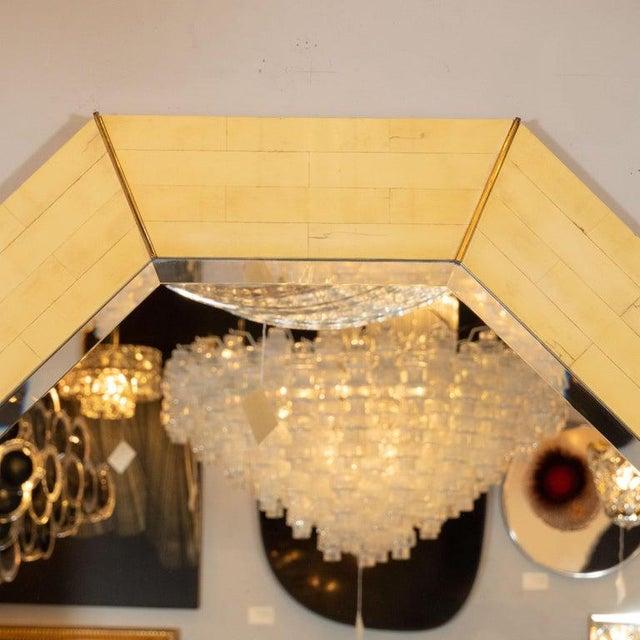 Karl Springer Karl Springer Mid-Century Modern Marbleized Lacquer and Brass Octagonal Mirror For Sale - Image 4 of 6