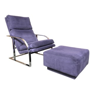 Mid-Century Modern Milo Baughman Style Purple Lounge Chair and Ottoman - 2 Pieces For Sale