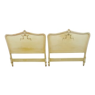 Louis XV Style Cream Twin Size Headboards - a Pair For Sale
