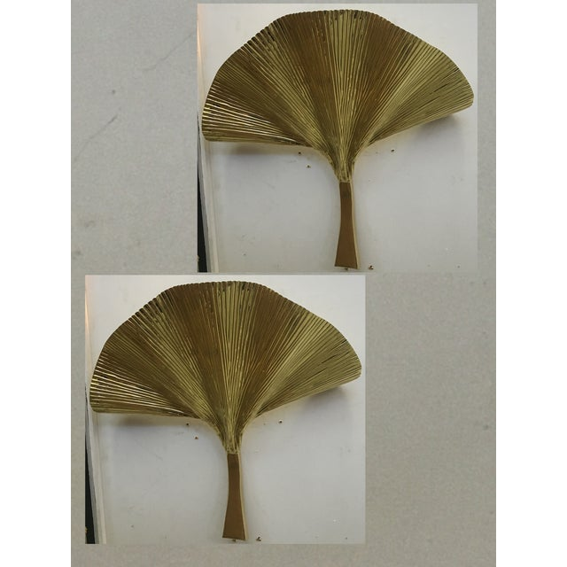 Fan Leaf Motif Gold Metal Wall Sconces - a Pair For Sale - Image 12 of 12