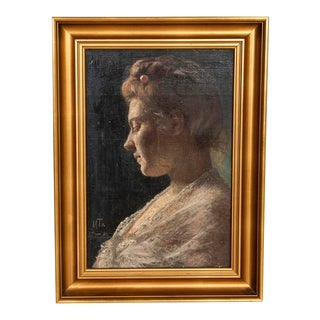 Original Oil on Wood Board Portrait of Woman in White Lace, Signed Han Michael Therkildsen For Sale