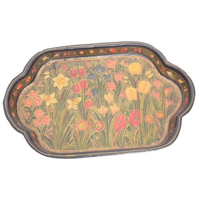Hand Painted Floral Kashmiri Decorative Tray - Image 1 of 4