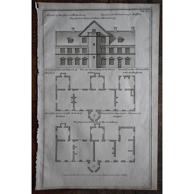 This early 18th century copperplate engravings depicts an architectural facade and floorplan. It is printed on handmade...