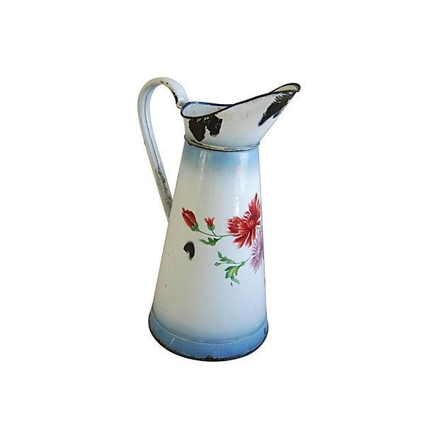 1920s Vintage French Hand-Painted Enameled Pitcher - Image 3 of 7