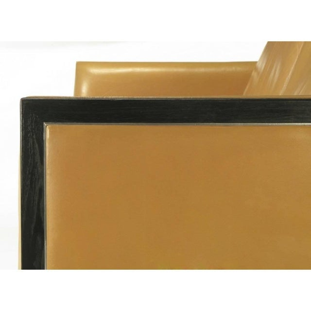 Metal Pair of Stow Davis Leather, Ebonized Wood and Aluminium Even Armchairs For Sale - Image 7 of 10