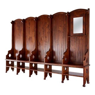 Monumental Gothic Revival Hall Tree Bench Seating With Storage For Sale