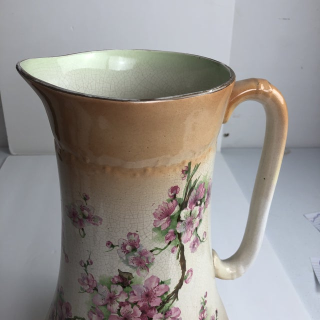 Ceramic Hand Painted Floral Pitcher For Sale - Image 7 of 13