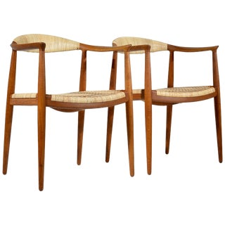 Early Oak and Cane Round Chairs by Hans Wegner - a Pair For Sale