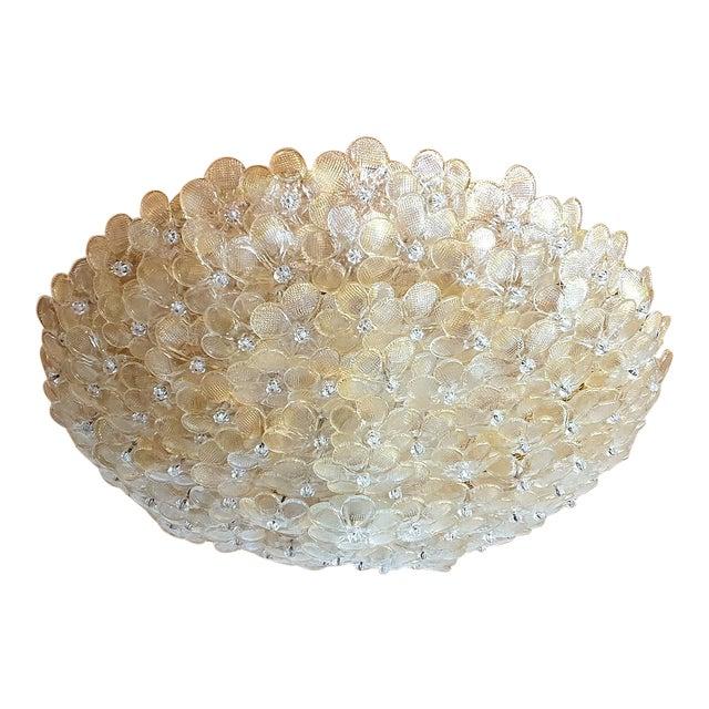 1970s Barovier Large Mid Century Modern Murano Glass Flower Flush Mount Light For Sale