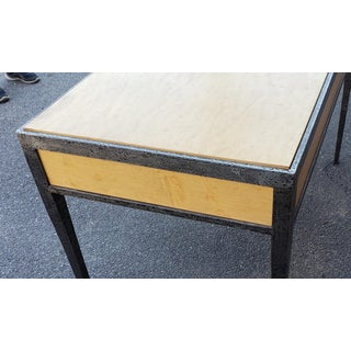 After Jean-Michel Frank Contemporary Decorative Wrought Iron & Birdseye Maple 2 Drawer Writing Desk, C1970s Preview