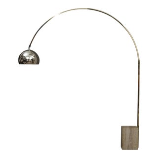 1960s Italian Castiglioni Style Floor Arc Lamp For Sale