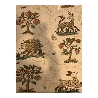 Medieval Schumacher La Menagerie Cream Linen Fabric - 6 1/2 Yards For Sale