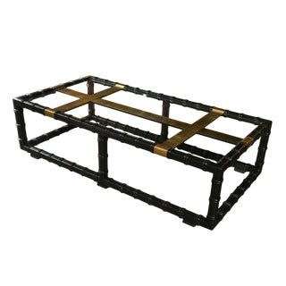1970s Vintage Black Faux Bamboo Coffee Table For Sale