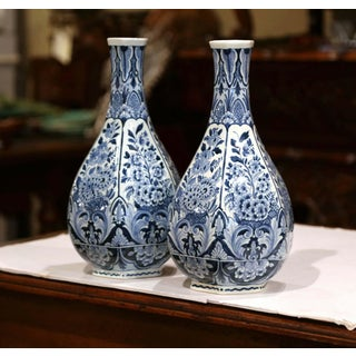 Pair of Mid-20th Century Faience Blue and White Hand Painted Delft Oud Vases Preview