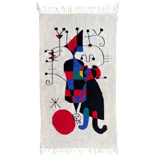 Vintage Huge 5 Ft Mid Century Modern Joan Miro Cubist Wool Fiber Art Wall Hanging For Sale