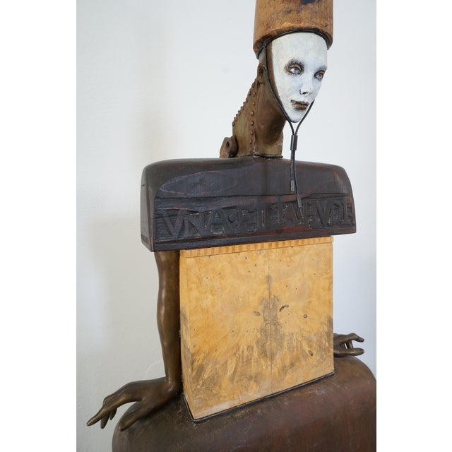 Contemporary Vintage 2002 Cecilia Z Miguez Sculpture 6-Foot Bronze Wood Granite and Found Objects For Sale - Image 3 of 13