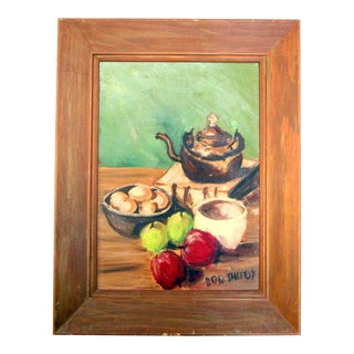Vintage Oil Painting Still Life - Fruit & Tea by Bob Sheedy For Sale